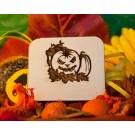 tessera in legno con Zucca di Halloween